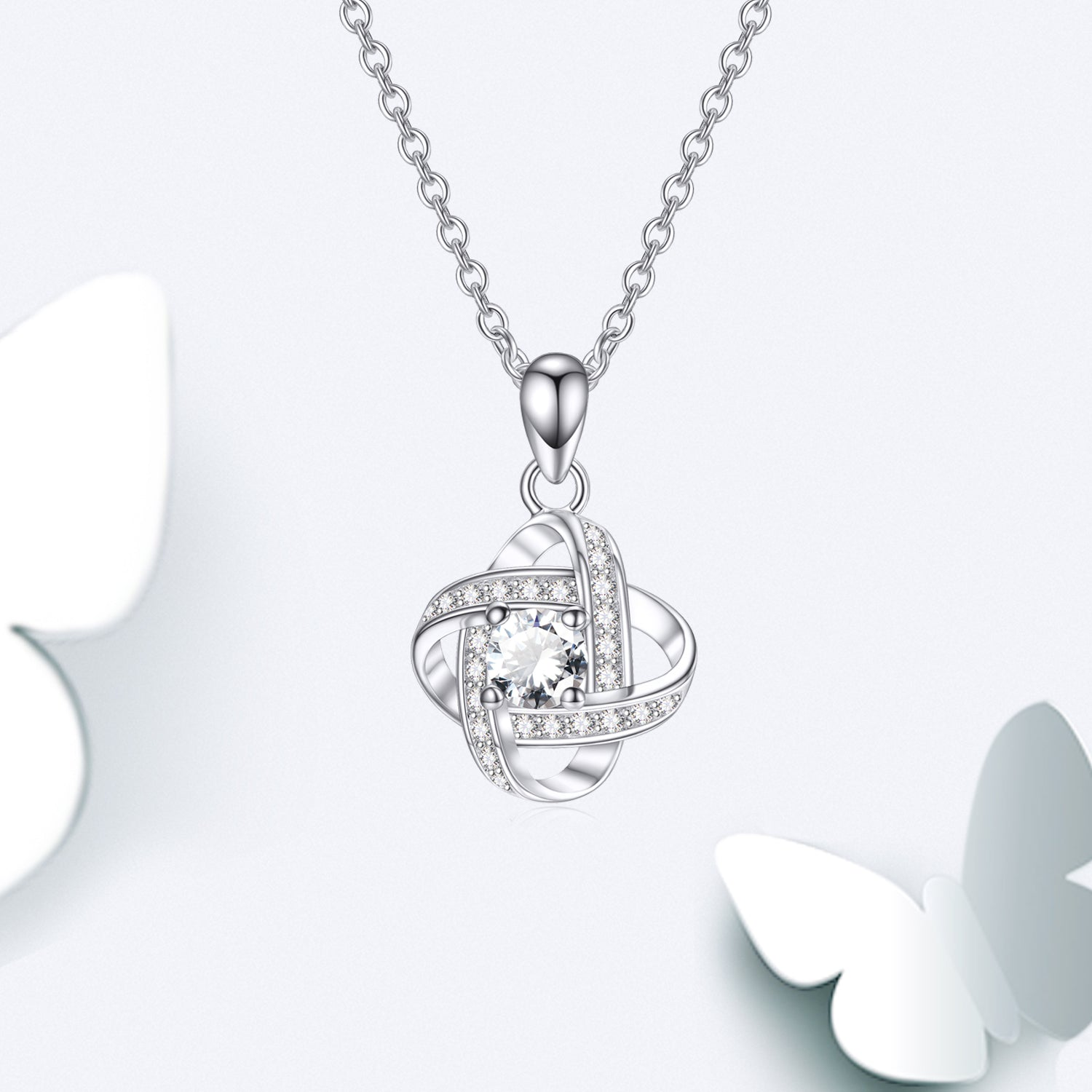 Forever Love Knot Necklace High Quality Cubic Zirconia Simple Necklace