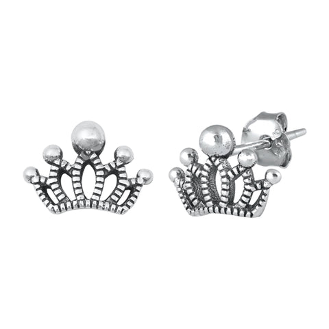 Silver Crown  Stud Earrings