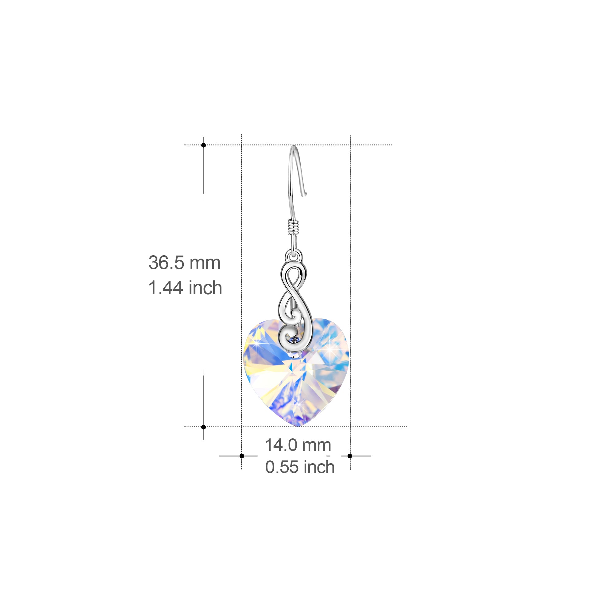 Transparent Heart Gemstone Earrings Hanging Pendant Earrings
