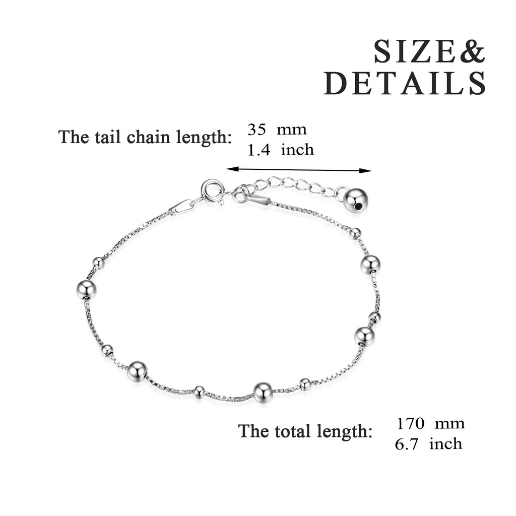 925 Sterling Silver Ball Classic Bracelet Chain Fashion Jewelry Design