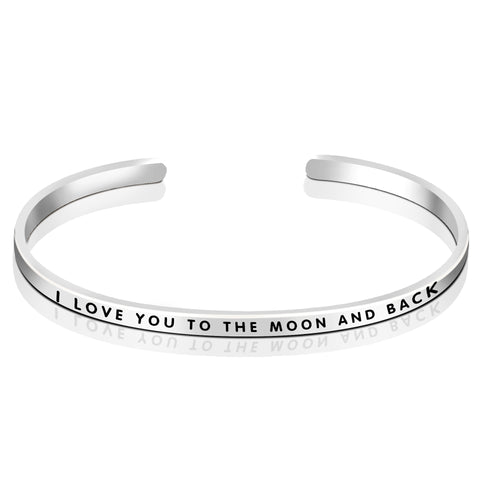 I LOVE YOU TO THE MOON AND THE BACK Bangle Words Engraved Bangle