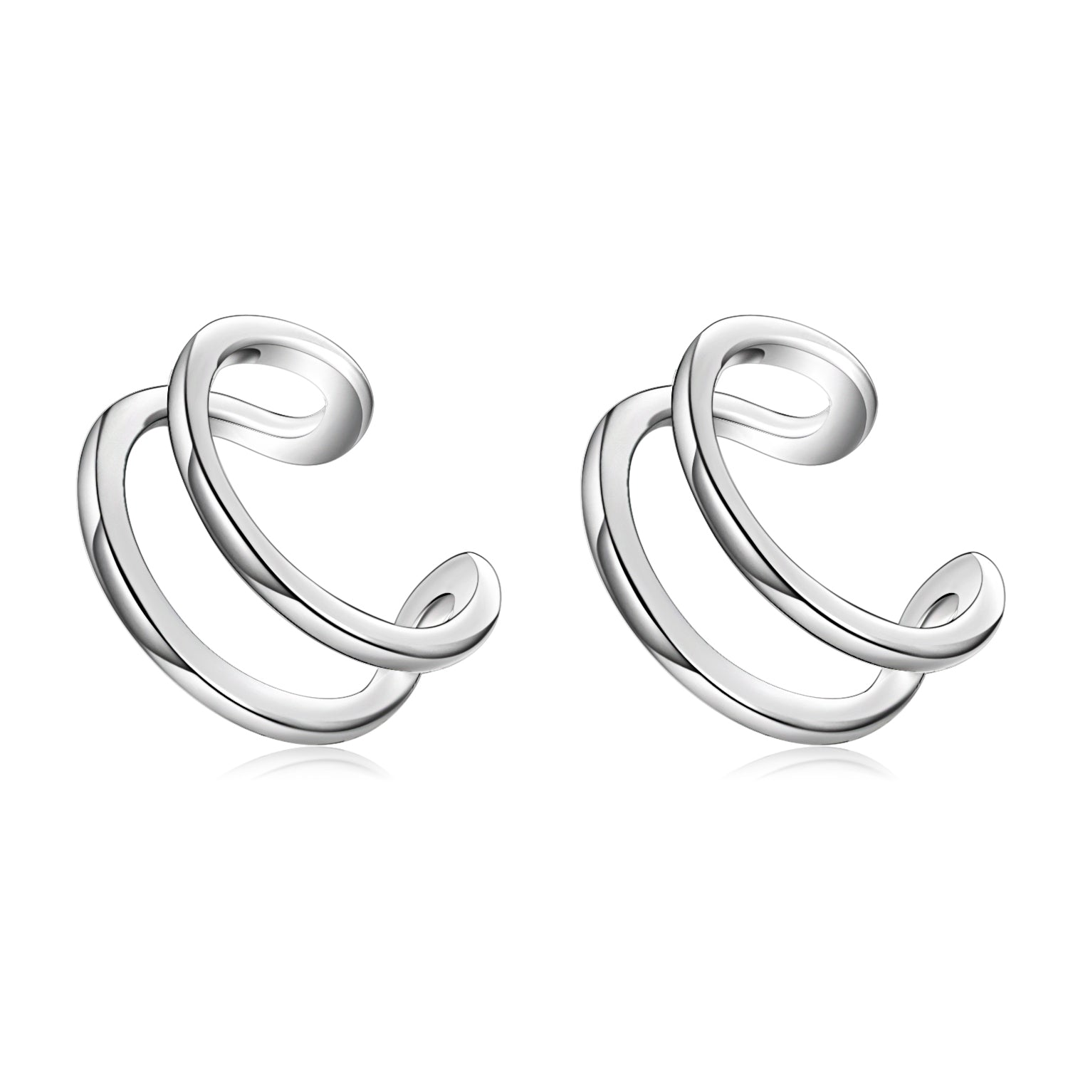 Clip Earrings Silver Wire Open Man an Woman Earrings Jewelry Design