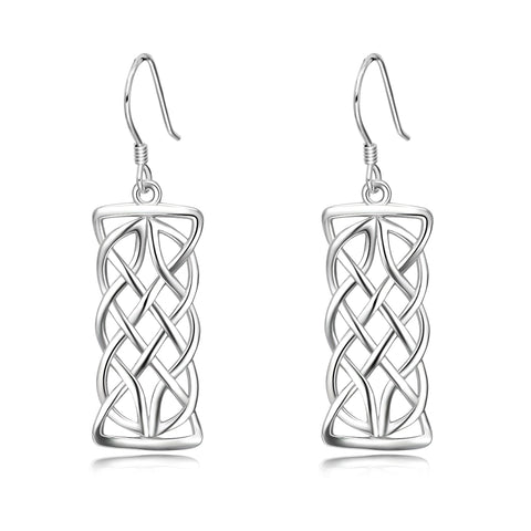 Rectangle Silver Wire Weave Earrings Design Jewelry For Beautiful Ladies