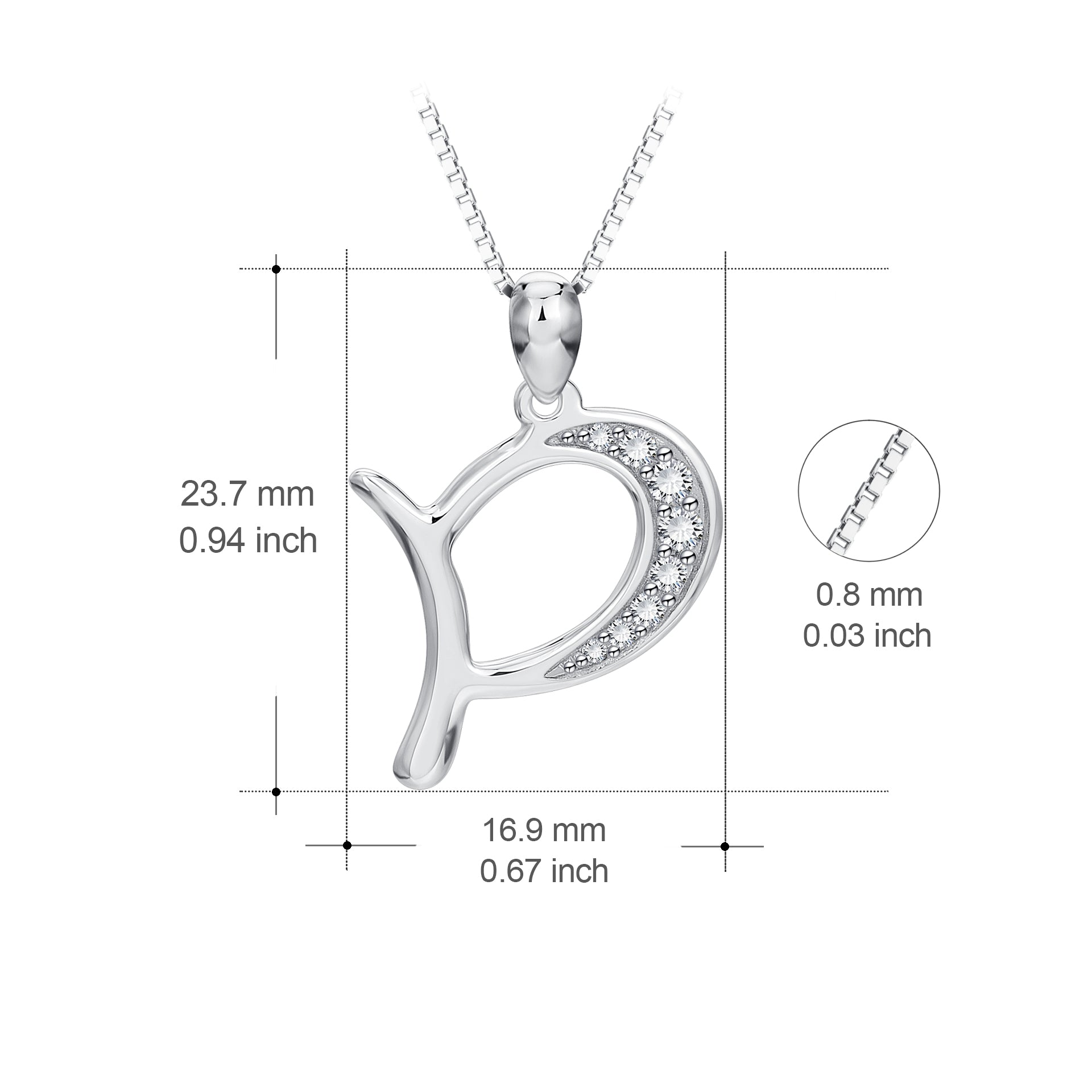 Box Chain Letter P Alphabet Charm Necklace Fashion Women Jewelry
