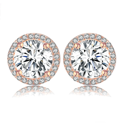 Rose Gold CZ Stud Earrings