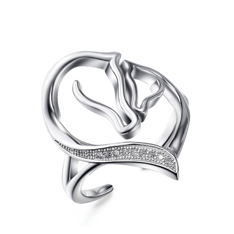 Horse Head Pattern Design Jewelry Ring 925 Sterling Silver Ring