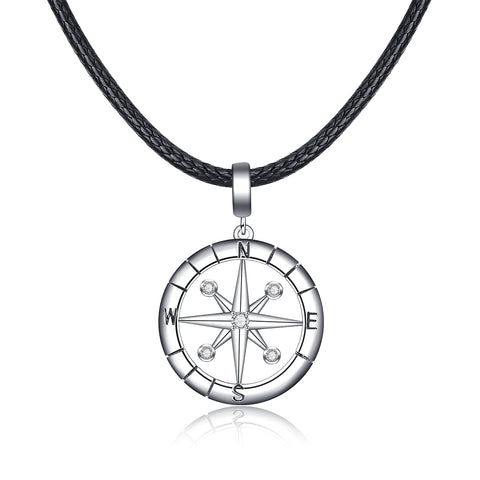 925 Sterling Silver Compass Coordinate Necklace Direction Jewelry Design