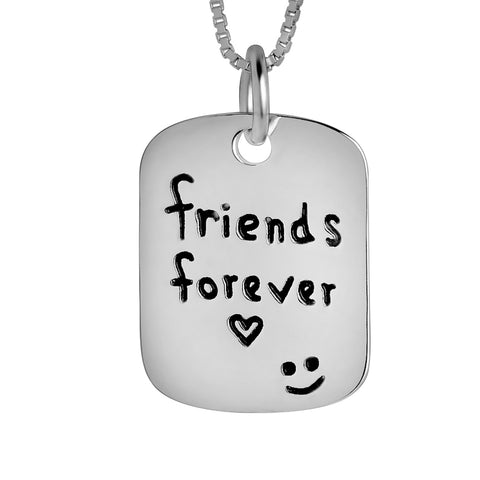 Engraved Tag Necklace Friends Forever Smile Face Necklace