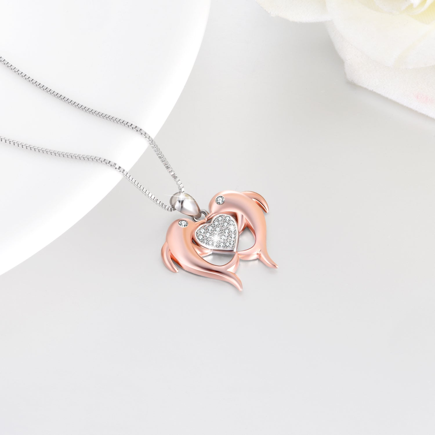 Dolphin Heart Necklace Cute Ocean Animal Human Friends Necklace