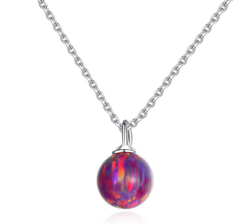 Ball color opal pendant dreamy luminous starry sterling silver necklace wholesale
