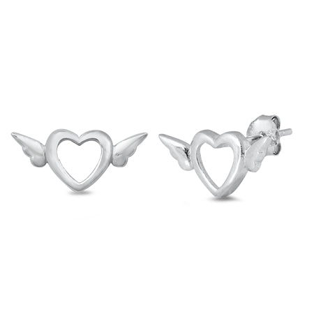 Silver  Heart & Wings Stud Earrings