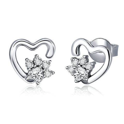 Classic Heart Clear Cubic Zircon Stud Earrings