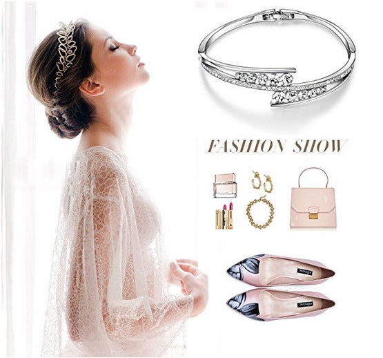 S925 Sterling Silver Fashion Creative Perspective Bracelet Female Personality Micro-Inlaid Zircon Series