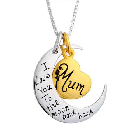 Engraved Pendants Necklace Heart Moon Jewelry For Mother Day