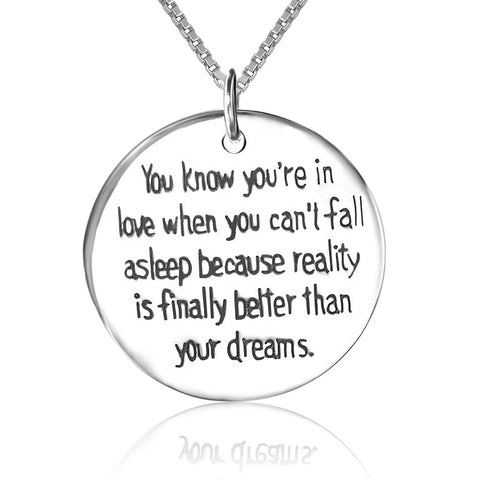 you know you are in love when you can't fall sleep necklace design