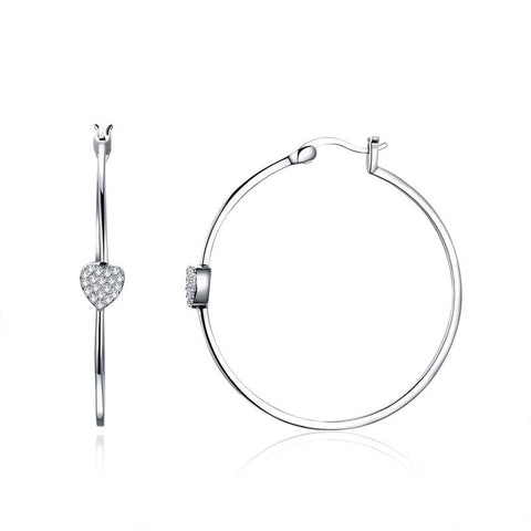Big Circle Love Heart Shape Clear CZ Drop Earrings