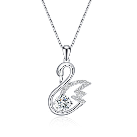 2019 Design Fashion Lovely Crystal Swan Shape Necklace for Women
