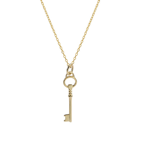 925 Sterling Silver Gold Key Clavicle Necklace Female European And American Style Light Luxury Cross-Border New Accessories