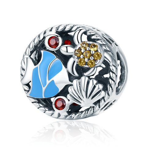 Silver Oxidized Epoxy Zircon Underwater World Charms