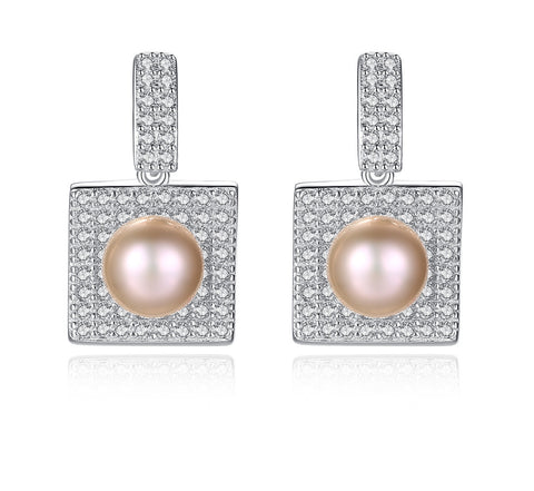 Freshwater Pearl Dangle Earrings 925 Sterling Silver Micro Pave Setting Cubic Zircon Jewelry