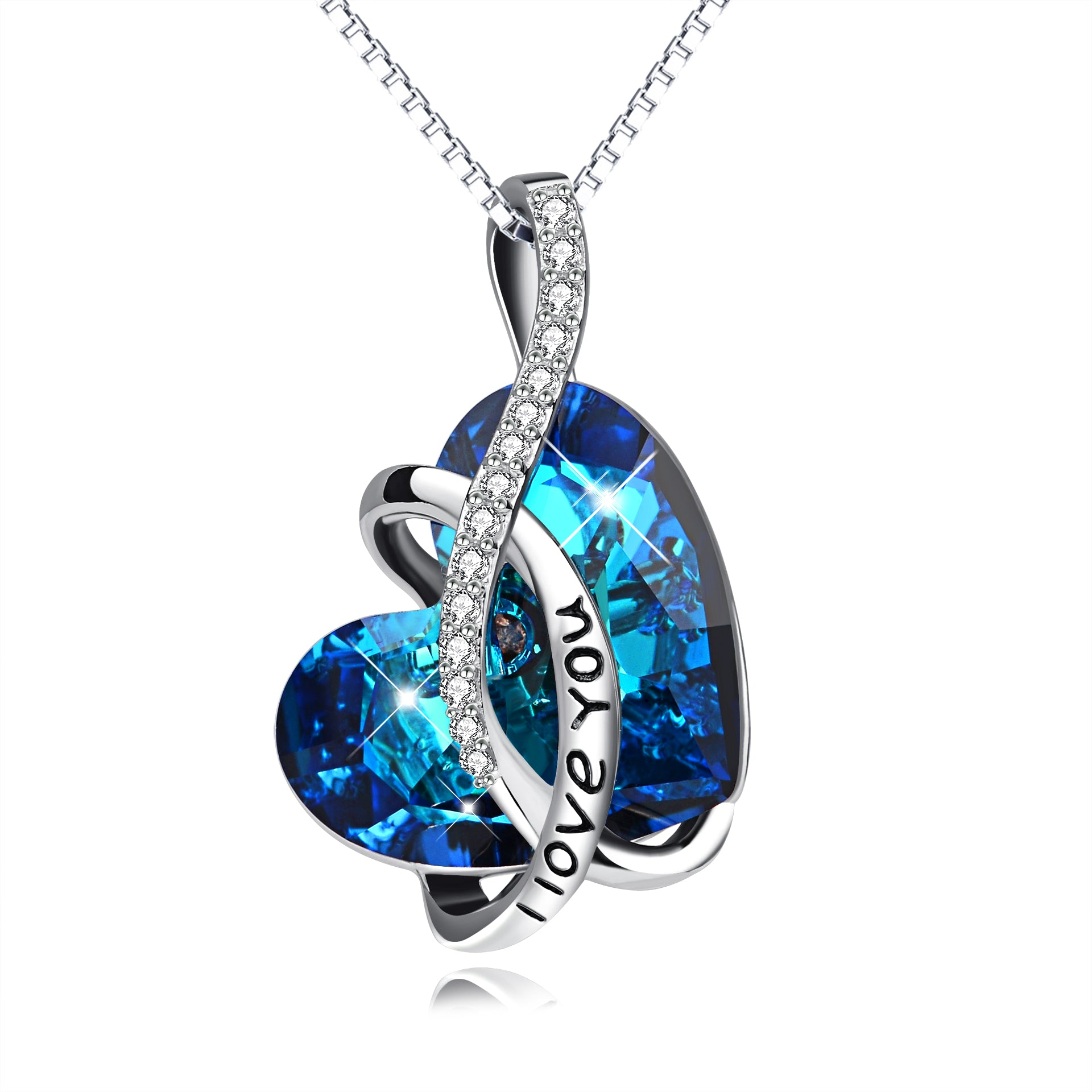 Mother's Day I Love You Heart Design Necklace Blue Crystal Necklace