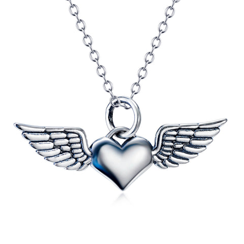 Inspired Heart With Wing Shaped Necklace Wholesale 925 Sterling Silver Necklace