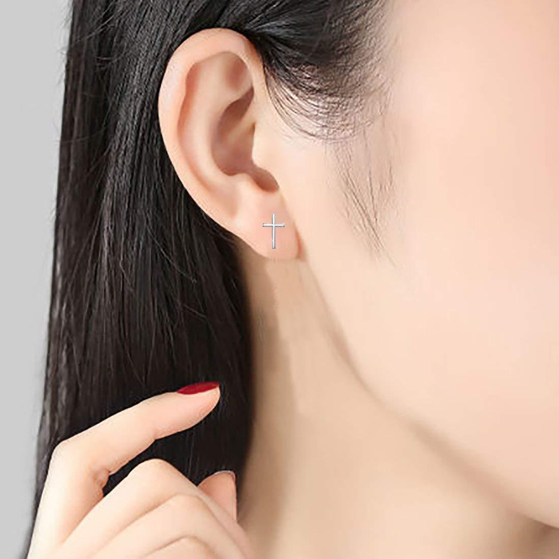 S925 Sleek Minimalist Cross Earrings Jewelry