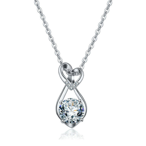 Hollow drop heart-shaped crystal zircon  necklace pendant ornaments jewelry European and American temperament