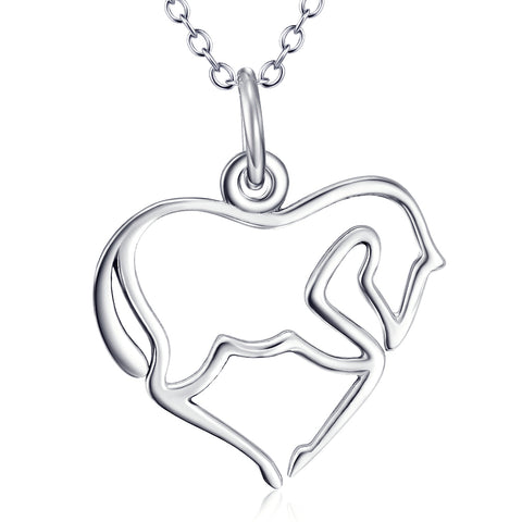 Animal Horse Shaped Necklace Wholesale 925 Sterling Silver Jewelry For Gifts