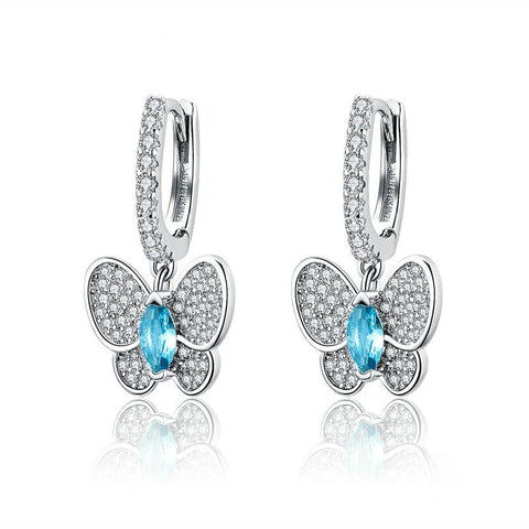 Luminous Clear CZ Butterfly Crystal Drop Earrings