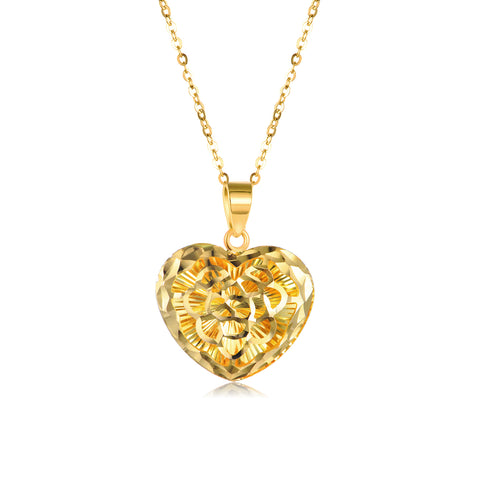 18K Gold Fashion Creative Love Hollow Necklace Ladies Boutique Jewelry
