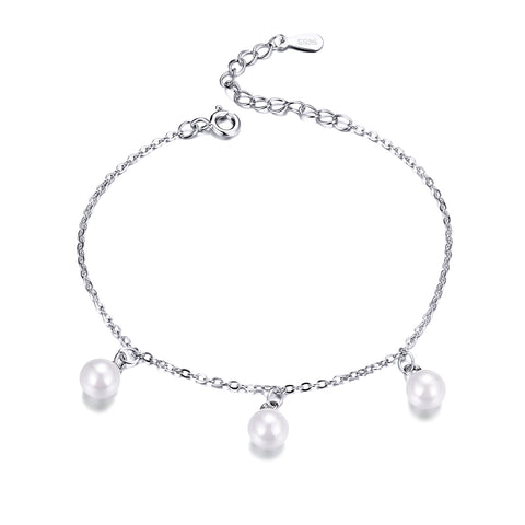 silver white gold plated pearl bracelet