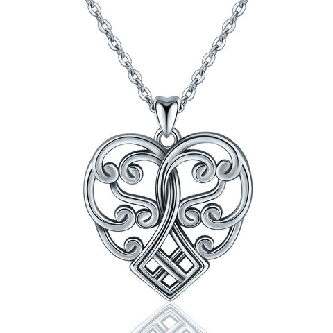 Heart Shaped Oxidized  Celtic Knot Pendant S925 Sterling Silver Vintage Necklace Pendant