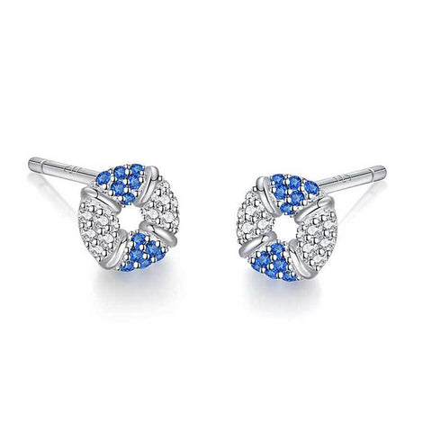 Blue and White Swimming Ring Crystal Zircon Stud Earrings 925 Sterling Silver Stud Earrings