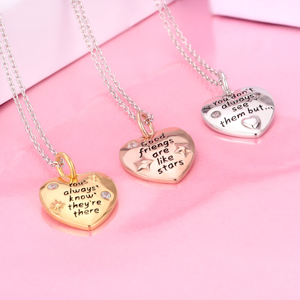 Girl Friends Necklace Good Friends Are Like Stars Heart Loving Necklace