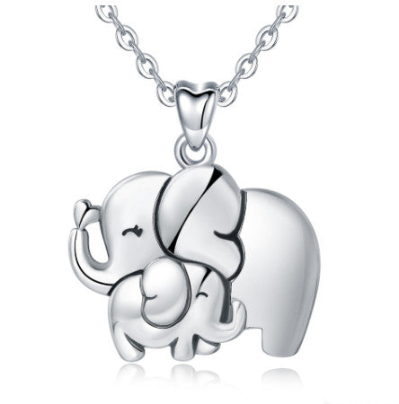 Elephant & Litter Elephant Pendant Necklace