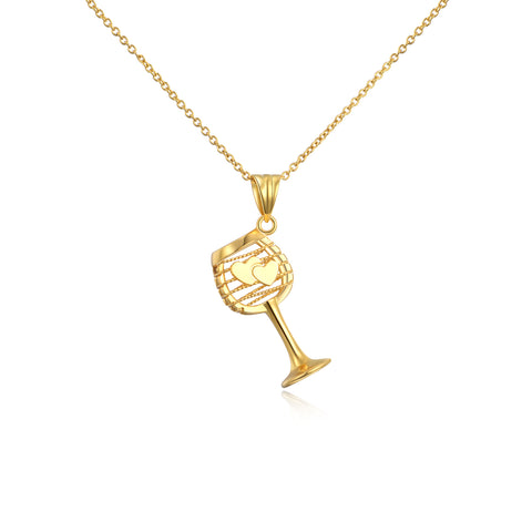 18K Gold Korean Love Cup Necklace Fashion Wild Clavicle Chain