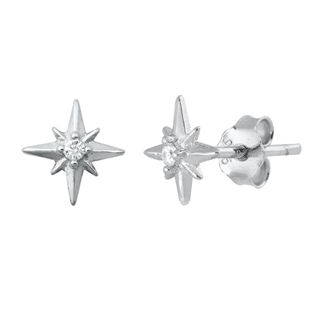 Silver Twinkle Stars Stud Earrings