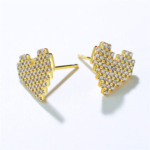 Diamond Heart-Shaped Earrings Female Korean Version Micro-Inlaid Love Silver