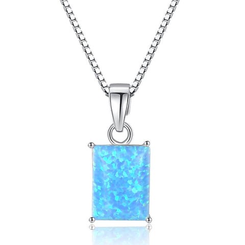 Square Opal Pendant S925 Sterling silver Female Necklace