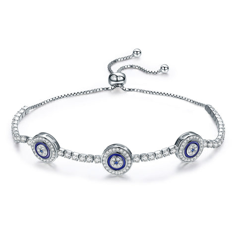 Silver White Gold  Plated Cubic Zircon Circle Bracelet