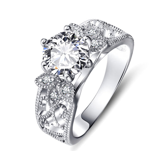 Cubic Zirconia Personalize Jewelry Rings Elegant Women Rings Silver