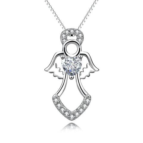 Human Angel necklace, angel wings wholesale necklace silver