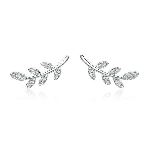 Spring Leaf Leaves Clear CZ Zircon Stud Earrings
