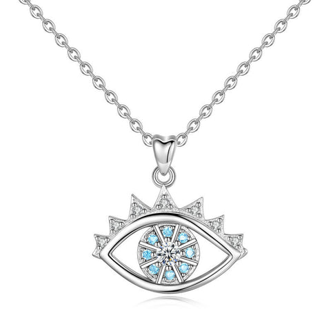 S925 sterling silver devil's eye zircon necklace pendant European and American fashion accessories