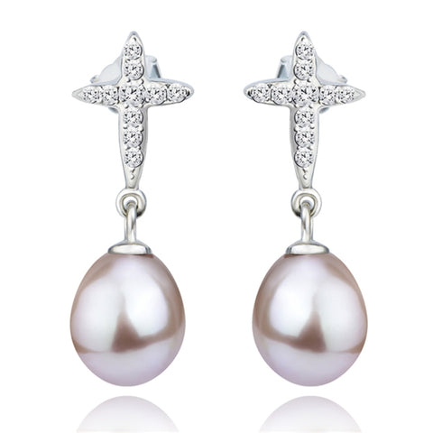 wedding engagement rhodium plated pearl mounting earrings for gift