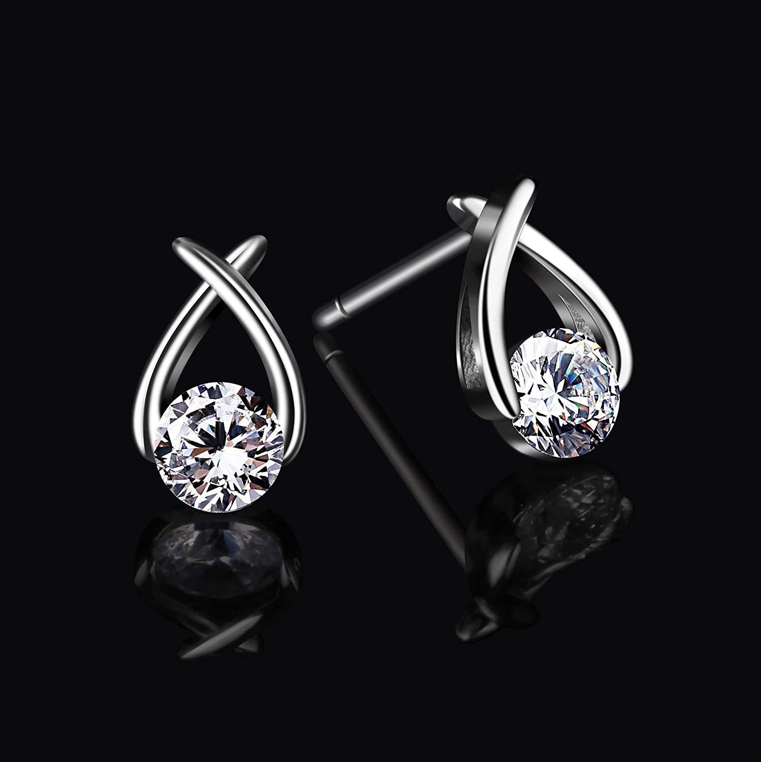 S925 Sterling Silver Creative Cross Budding Personality Wild Earrings Jewelry Cross-Border Exclusive