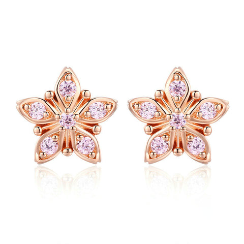 Sakura Pink Flower Exquisite Stud Earrings