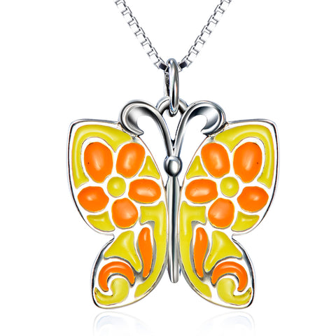 Animal Yellow Butterfly Shaped Necklace Wholesale 925 Sterling Silver Necklace For Girls