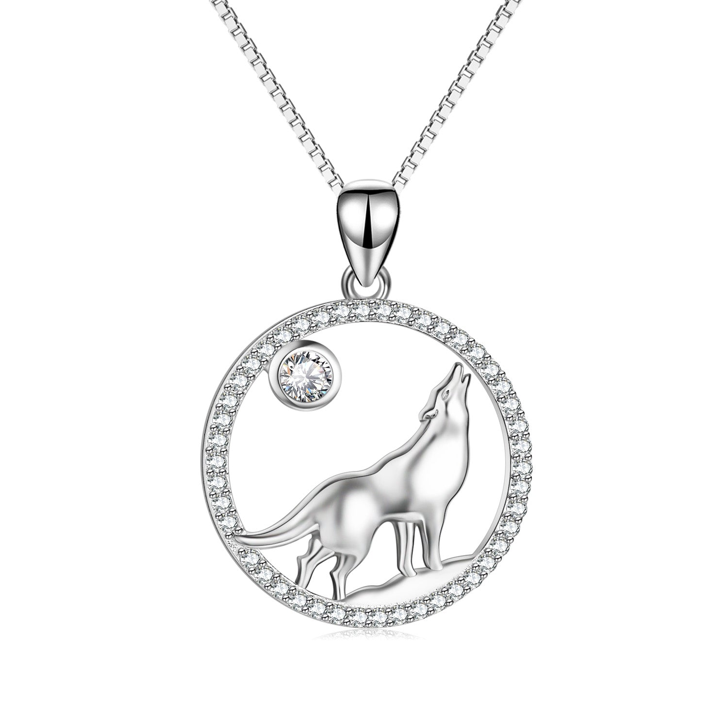 Wolf Howling Necklace Night Hillside Moon Necklace Zircon Jewelry